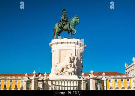 Equestrian statue of king Jose I on Commerce Plaza in Lisbon, Portugal - Stock Photo