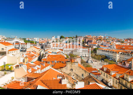 Lisbon skyline from Santa Justa Lift. Building in the centre is National Theatre D. Maria II on Rossio Square (Pedro IV Square) in Lisbon Portuga - Stock Photo
