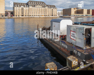 Pontoon of a mobile industrial diver - Stock Photo