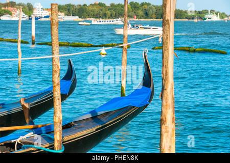 Gondolas on Grand Canal - Stock Photo