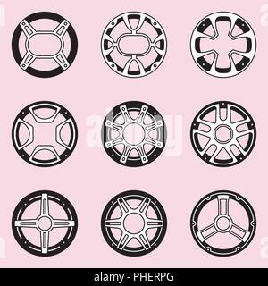 Steel speaker grill set on pink backrounds. Flat vector - Stock Photo