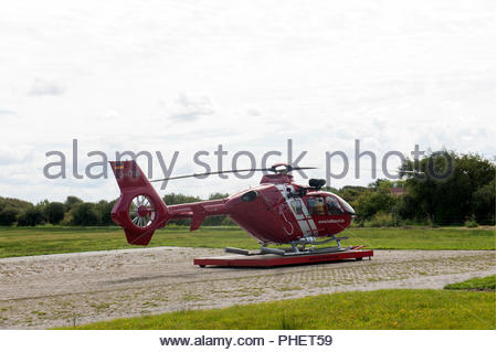 Borkum Germany Borkum airfield / flugplatz D-HTMI - Eurocopter EC135P2 operated by HTM Helicopter Travel Munich - Stock Photo