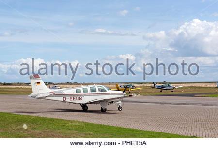 Borkum Germany Borkum airfield / flugplatz D-EEDS - Beechcraft A36 Bonanza - Stock Photo