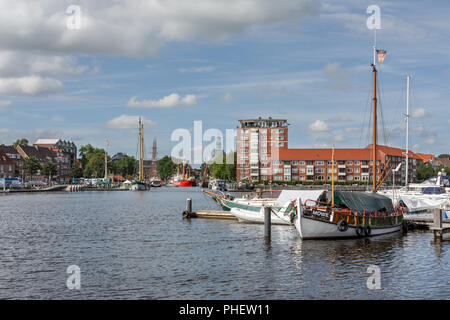 View to the Ratsdelft in Emden, East Frisia - Stock Photo