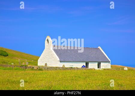 Church of the Holy Cross, Mwnt, Cardigan Bay, Wales, United Kingdom, Europe, - Stock Photo