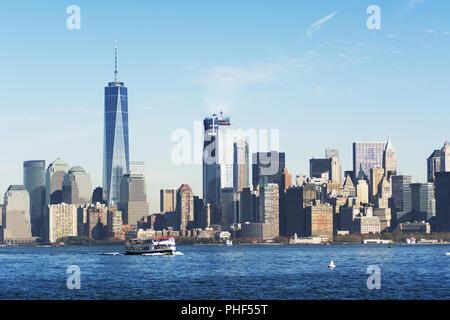 New York City skyline from Liberty island - Stock Photo