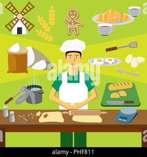 Color vector clip art. Infographics education. Profession of the baker (cook) - Stock Photo