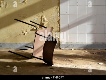 in an abandoned Russian barracks in the territory of the GDR - Stock Photo