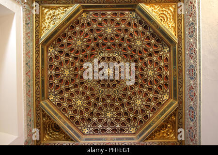 Royal Palace Real Alcazar - ornate wooden ceiling - Stock Photo