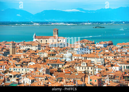 Aerial view to Venice roofs - Stock Photo