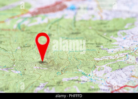 Red point on the noname map - Stock Photo