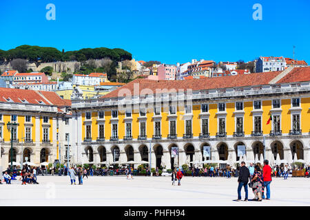Lisbon, Portugal - March 27, 2018: Praca do Comercio or Commerce square, people and houses view - Stock Photo
