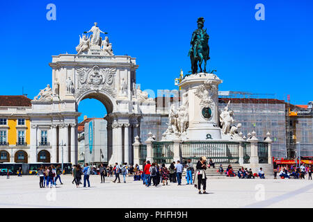 Lisbon, Portugal - March 27, 2018: Praca do Comercio or Commerce square with Rua Augusta Arch and statue of King Jose I - Stock Photo