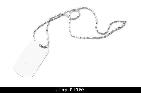 blank dog tag isolated on white - Stock Photo