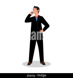 businessman standing talking on smartphone. business conversation. vector illustration - Stock Photo