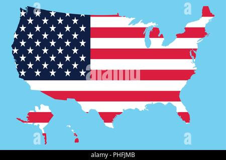 USA Map Flag on a blue background - Stock Photo