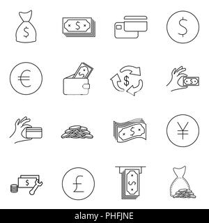 Simple Set of Money Related Vector Line Icons. Contains such Icons as Wallet, ATM, Bundle of Money, Hand with a Coin and more. Editable Stroke. - Stock Photo