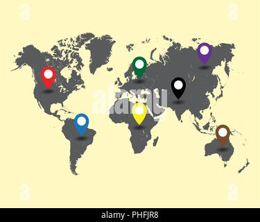 world map with colored pointers vector illustration - Stock Photo