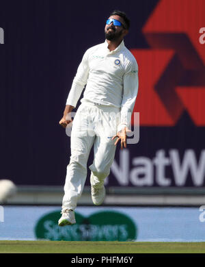 India's KL Rahul celebrates catching the ball of England's Alastair Cook during day three of the fourth test at the AGEAS Bowl, Southampton. - Stock Photo