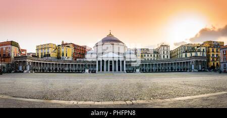 Church San Francesco di Paola on Piazza del Plebiscito - the main square in Naples, Italy - Stock Photo