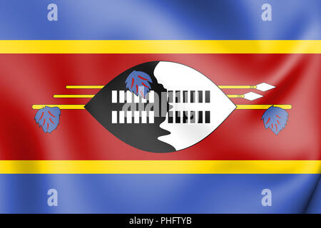 3D Flag of Swaziland. 3D Illustration. - Stock Photo