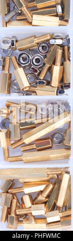 Brass Standoff Spacer Male and Female set in plastic container - Stock Photo