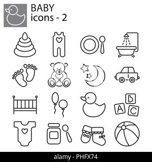 Web icons set - Baby toys, feeding and care - Stock Photo