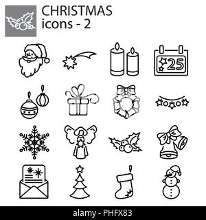 Web icons set. Christmas and New Year - Stock Photo