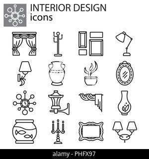 Web icons set - Interior design black on white background - Stock Photo