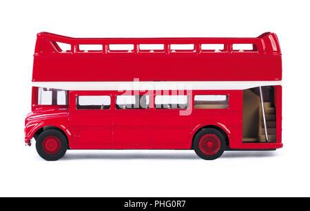 London bus toy isolated on white background - Stock Photo