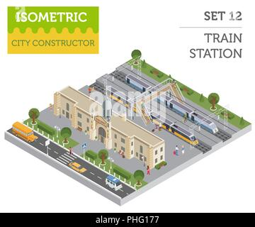 3d isometric Train station and city map constructor elements isolated on white. Build your own railway infographic collection. Vector illustration - Stock Photo