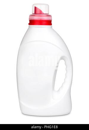 3d model of white plastic bottle of liquid for washing machine isolated on white background - Stock Photo