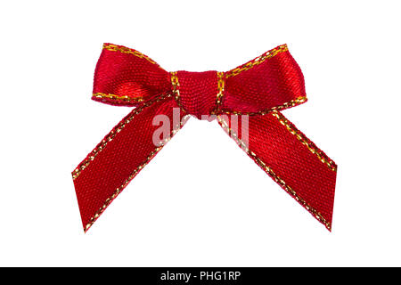 Red fabric bow isolated on white background - Stock Photo