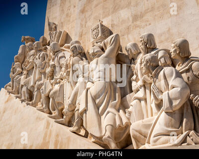 Portugal, Lisbon, Belem, Padrao dos Deccobrimentos, the discoveries monument, memorial to seafaring explorers, statues, detail - Stock Photo