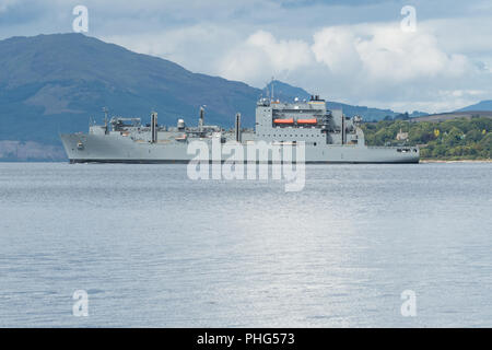USNS Medgar Evers (T-AKE-13) United States Navy Lewis and Clark class dry cargo ship in the Firth of Clyde, Scotland, UK - Stock Photo