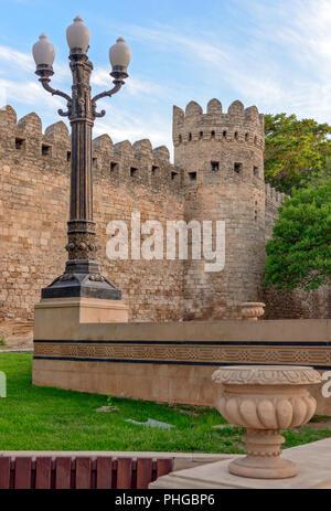 Fortress wall in old city Baku, Azerbaijan - Stock Photo