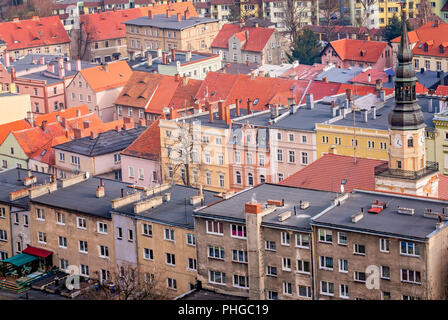 Colorful houses in Bolkow town - Stock Photo