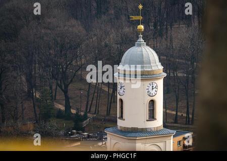 Clock tower of the Saint Jadwiga Catholic church in Bolkow - Stock Photo