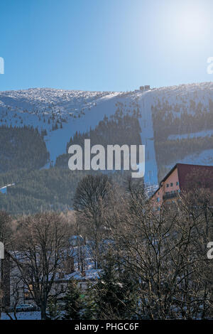 Ski lift to the top of Kopa mountain - Stock Photo