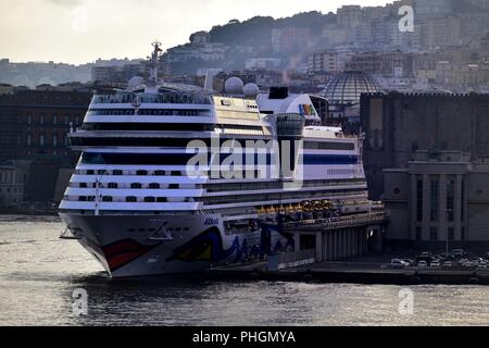 Adia Stella, Naples, Italy - July 18:Aida Stella alongside in the Port of Naples - Stock Photo