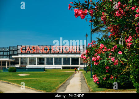 Estoril, Portugal - August 30th, 2018: Facade of the Casino Estoril in Estoril city, just outside of Lisbon. One of the largest casinos in Europe - Stock Photo