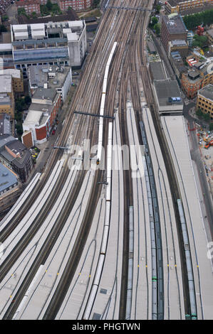 Train lines from London Bridge station, viewed from the Shard - Stock Photo
