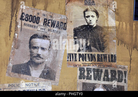 Wanted posters from Victorian Era, England - Stock Photo