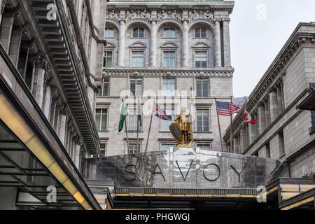 The Savoy hotel, Strand, London, England, UK - Stock Photo