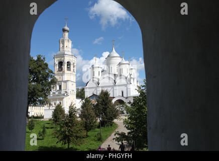 view from the window to the monastery - Stock Photo