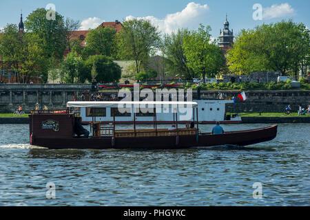 Party boat on the Vistula river in Kraków, Poland 2018. - Stock Photo