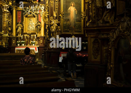 Interior of the Corpus Christi Basilica in Kraków, Poland 2018. - Stock Photo