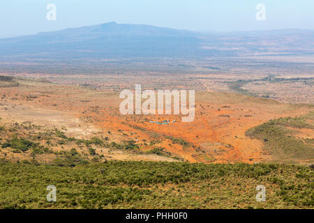 View of the Rift Valley landscape in Kenya - Stock Photo