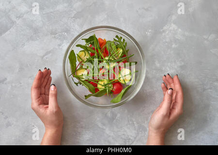 Fresh salad from raw vegetables - Stock Photo