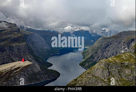 Trolltunga hike in Norway Stock Photo